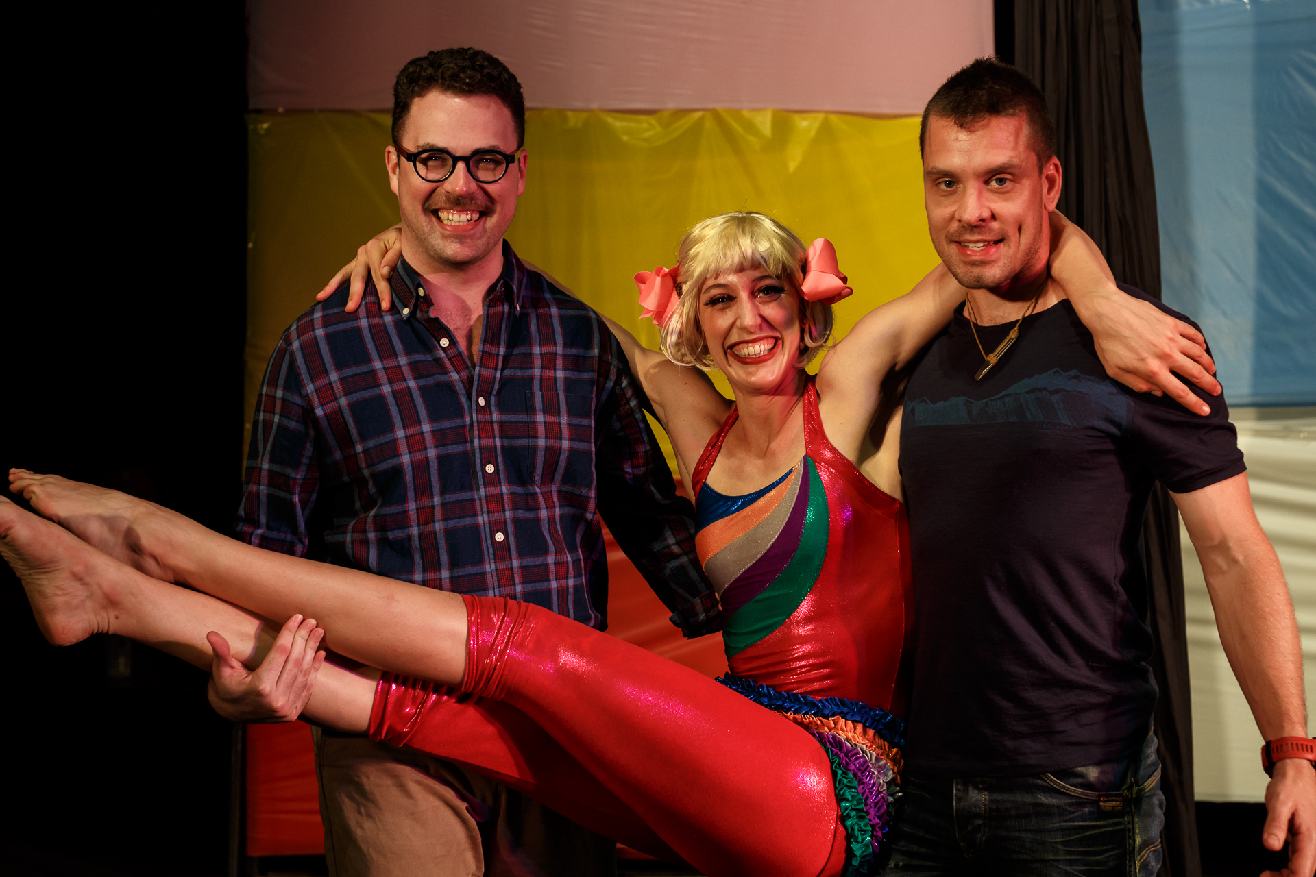 Pictured (Lto R): Julio 2 (Lachlan Snow), Circus Clare (Claire Ogden), and Dimitri (Simon Arnold). Picture Credit: Geoff Lawrence, Creative Futures Photography.