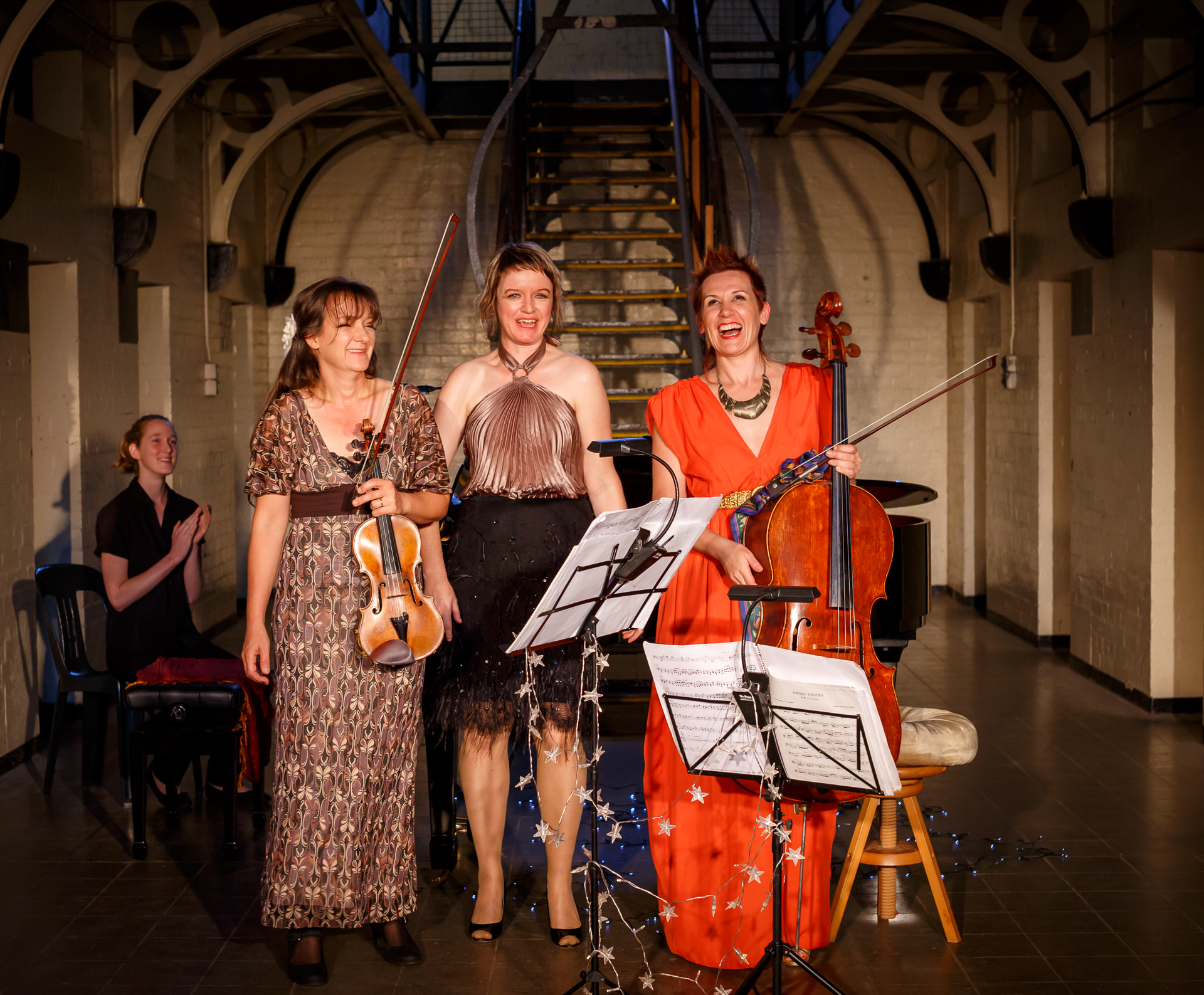Pictured  (L to R): Alison Snook, with   The Muses Trio  —Christa Powell (violin), Therese Milanovic (piano), and Louise King (cello).  Picture Credit  : Geoff Lawrence,  Creative Futures Photography  .