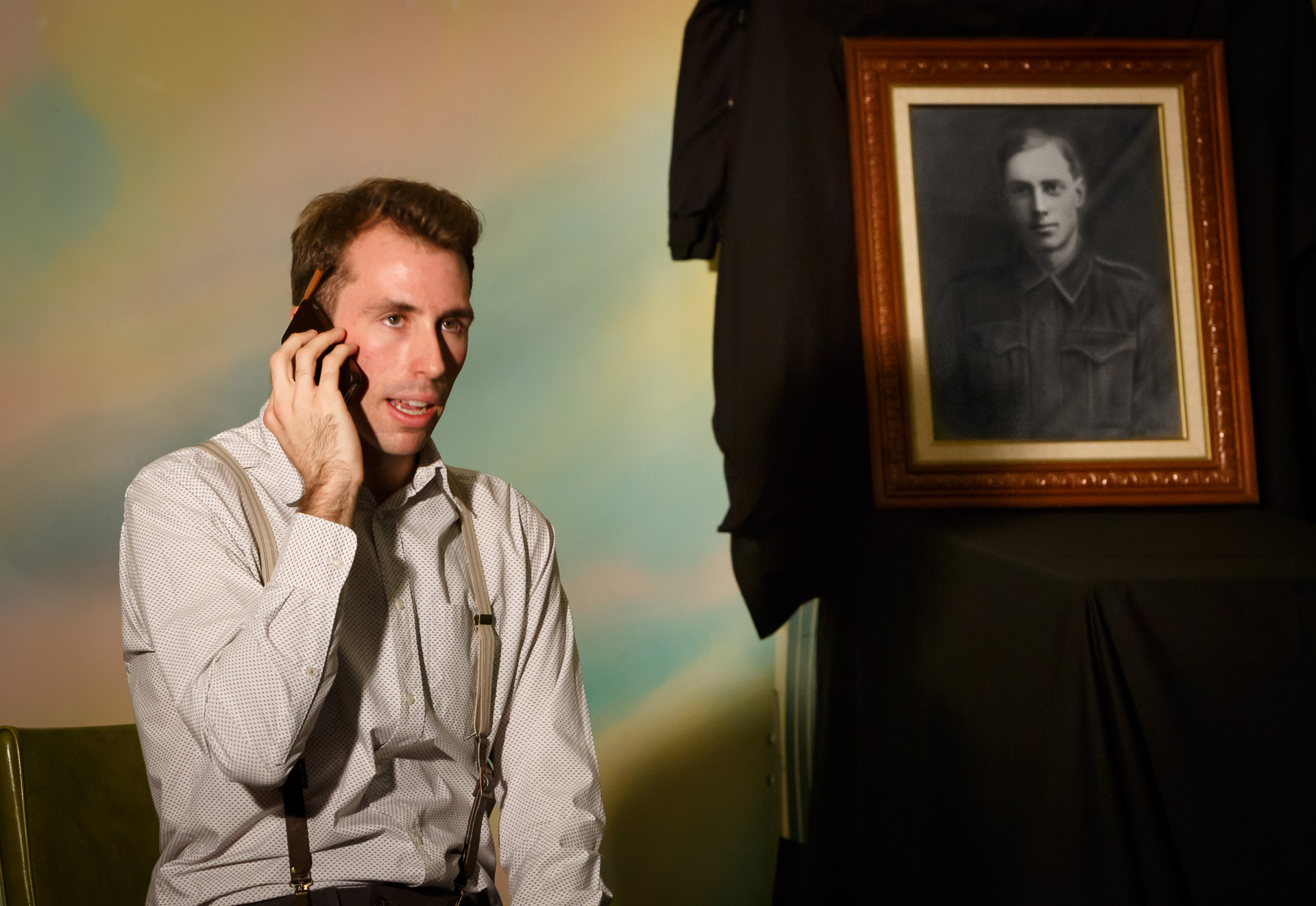 Pictured: Mark Salvestro, with the portrait of great-great uncle George Bradford (in Buried at Sea). Photo credit: Geoff Lawrence, Creative Futures Photography.
