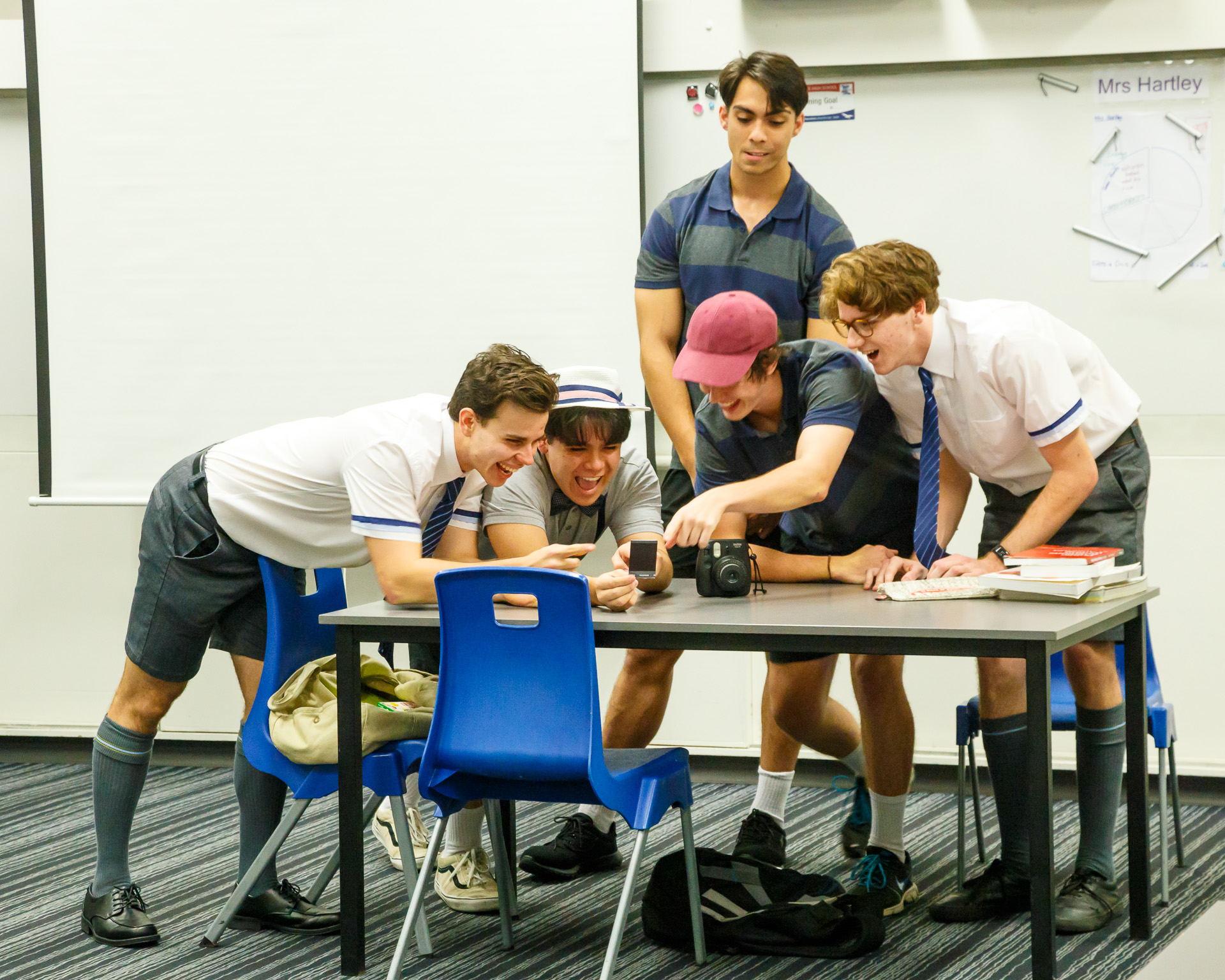Pictured (L to R): Noah (Brodie Greenhalgh), Byron (Peter Wood), Jock (Dean Taylor), Simon (Caeleb Grosser), and Cam (Levi Wilcox) in  Signs . Picture credit: Geoff Lawrence, Creative Futures.