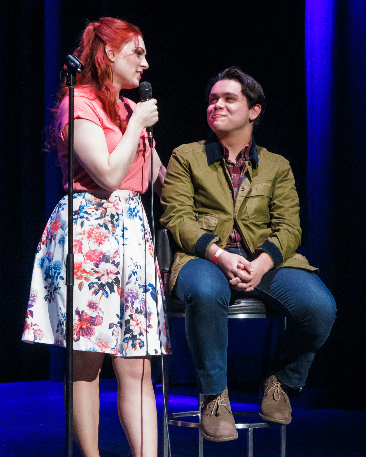 Pictured (L to R): Emily Vascotto performing to a co-opted audience member (Peter Wood) in  Screw Loose . Picture Credit: Geoff Lawrence, Creative Futures Photography.