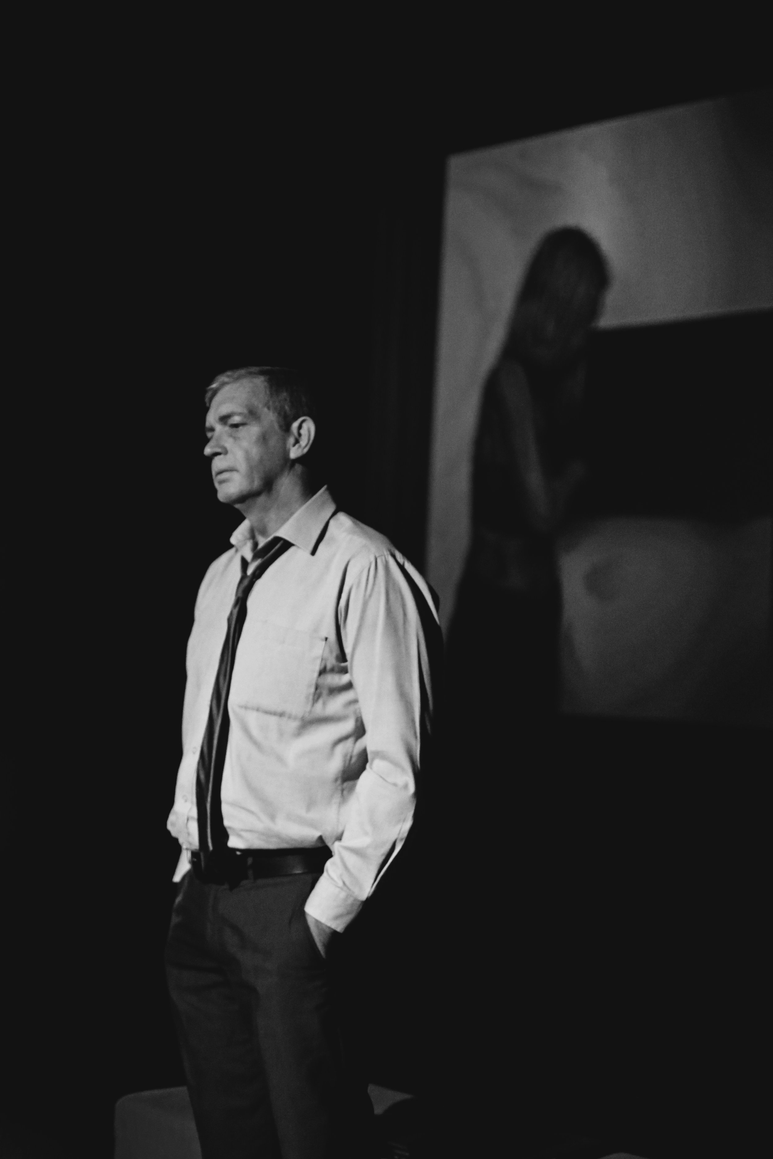 Pictured:The Lawyer (Ron Kelly), foreground, on stage, with The Biology Teacher (Jacqui Story) on screen.  NOTE  Picture credit:Deelan Do.