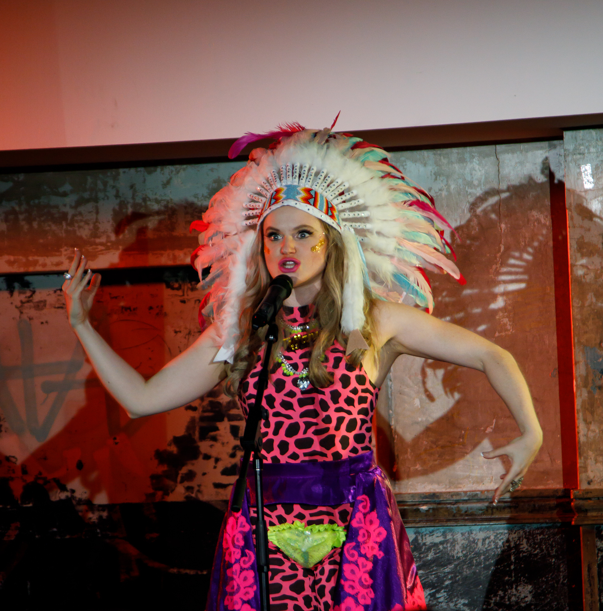 "Picture: Drawing on the ""7% Indian"" in  #FirstWorldWhiteGirls Spirit Animal  (Judy Hainsworth) Picture credit: Geoff Lawrence, Creative Futures Photography."