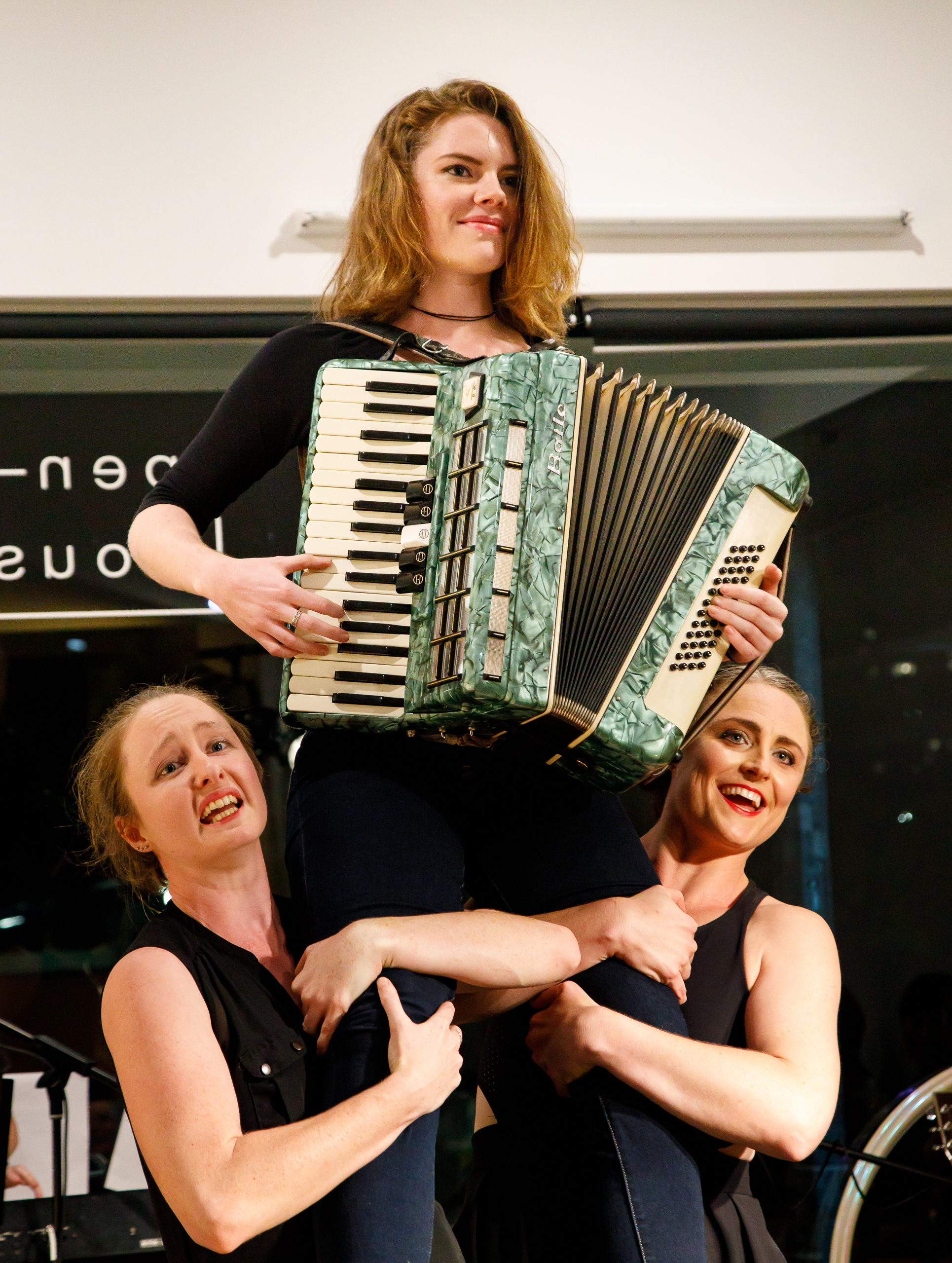 Picture (L to R):  Regan Henry, Kristy Stanfield (with accordion) and Elyse Fitzpatrick in  Hold My Beer  (Creative Futures Photography).