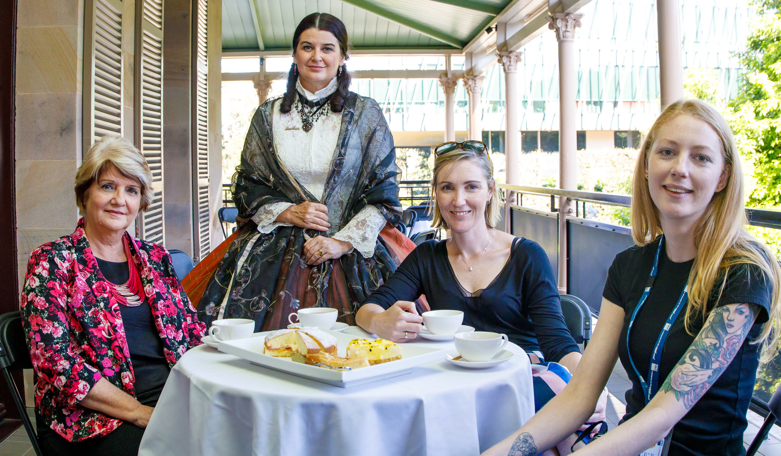 Picture:  Tea and cake for some of our group at the  The Lady Diamantina Bowen Tour  (Natalie Cowling). Picture credit: Creative Futures Photography.