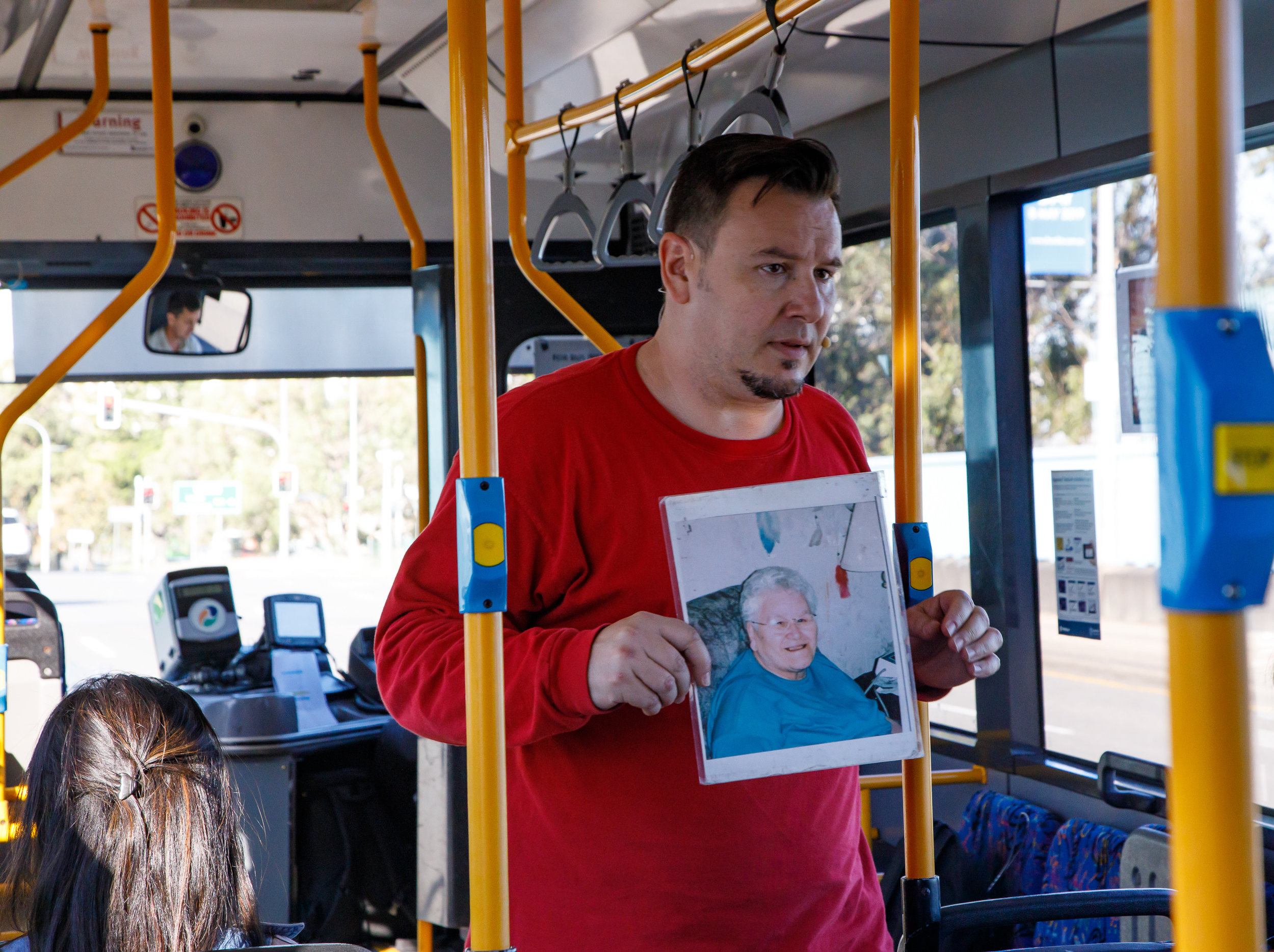 Pictured:  Simon Douglas (Craig Lauzon) in  Tales of an Urban Indian (City Bus) . Anywhere Festival, Brisbane, May 2019. Picture credit:  Creative Futures Photography .