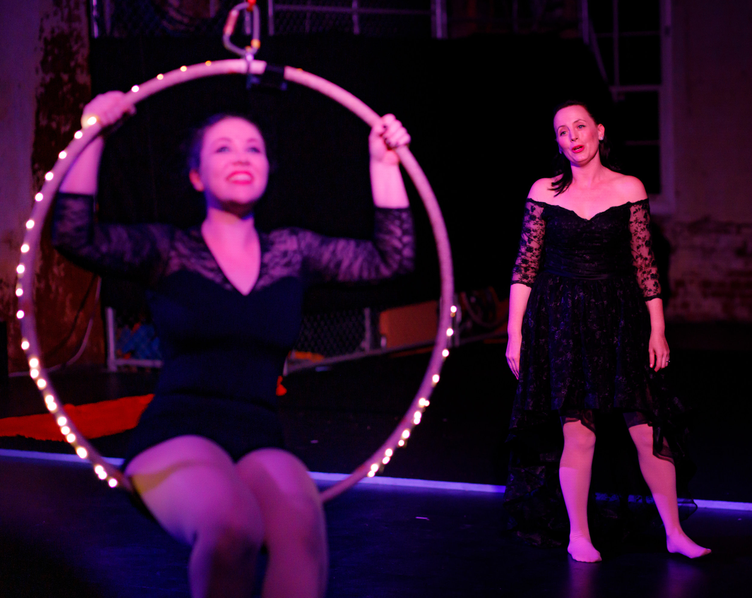 Pictured (L to R):  Georgia-Elizabeth Bale (aerialist), and Jo Willans (Soprano). Picture credit:  Creative Futures Photography .