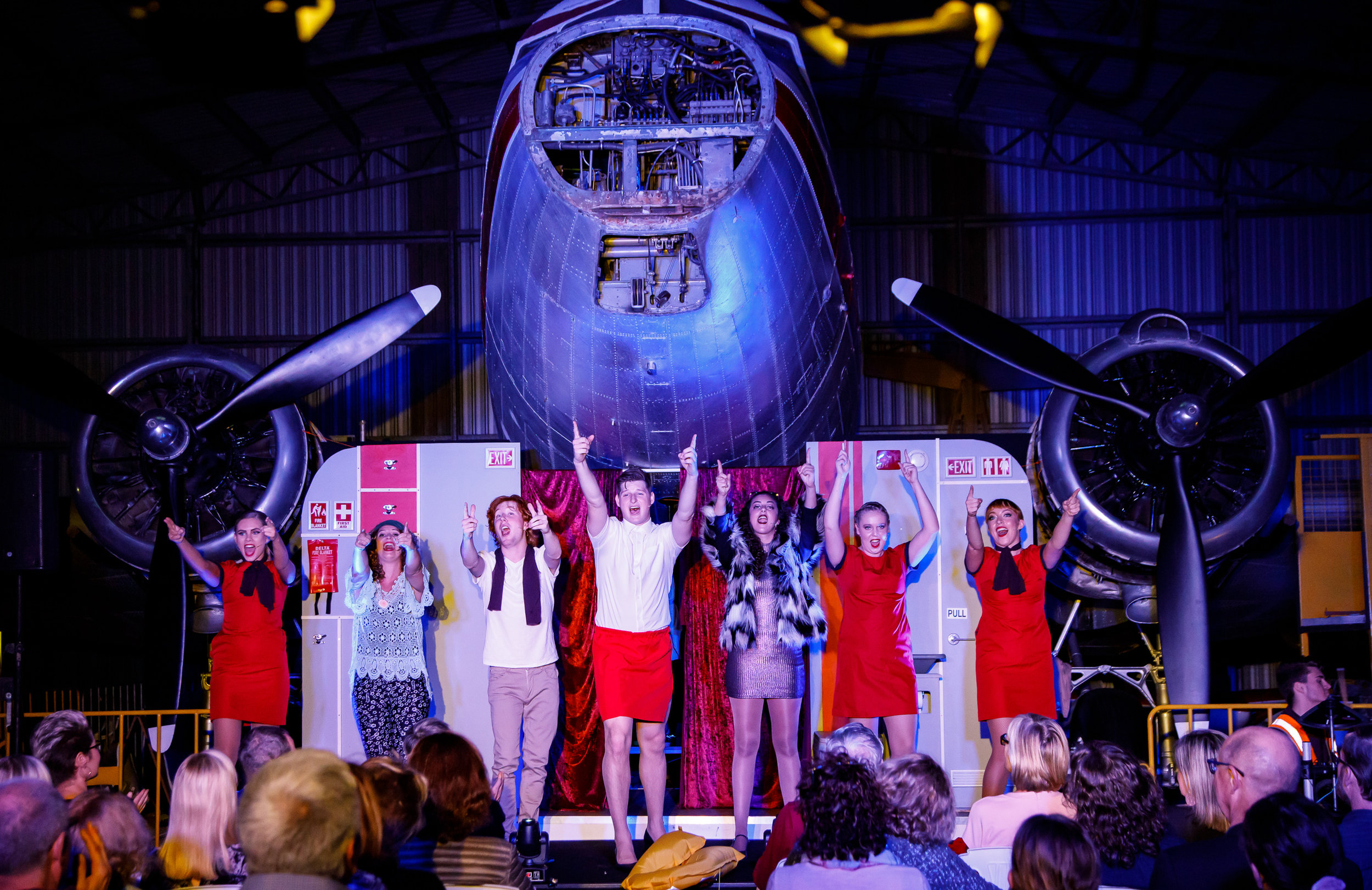 Pictured: The cast of  In Flight Entertainment  at the Queensland Air Museum. Picture credit:  Creative Futures Photography .