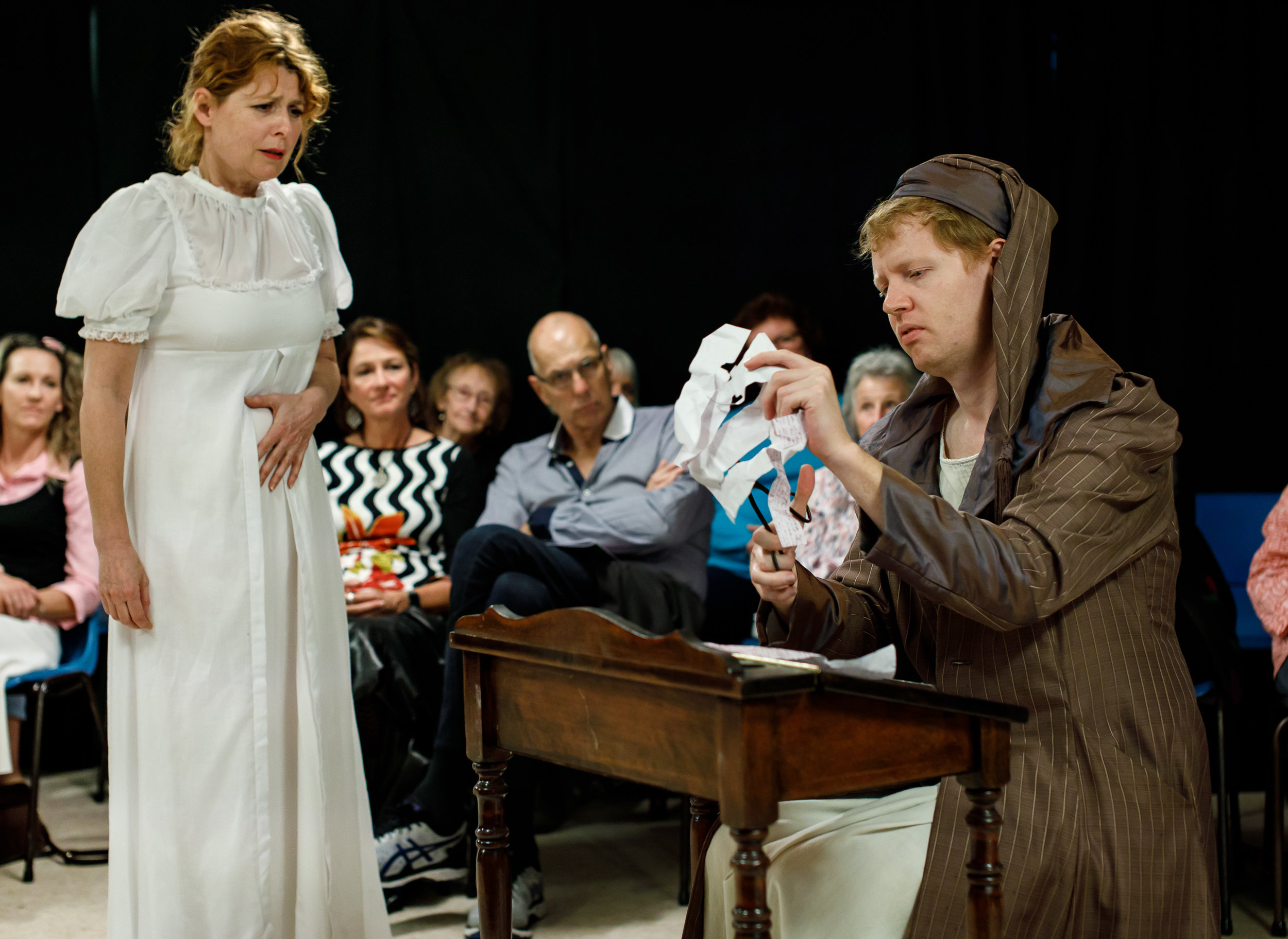 Pictured (L to R): Jane Austen (Louise Tasker) watching Jane's Brother (William Wallace) 'editing' her letters Picture credit: Creative Futures Photography.