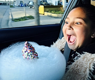 New: Tone's Cones Cloud cone --- a sugar cone spun with cotton candy topped with your favorite soft serve and toppings