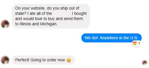 A Facebook interaction with an out-of-state e-commerce shopper for one of our Seattle-based clients. Not bad for a farmers market-centric brand!