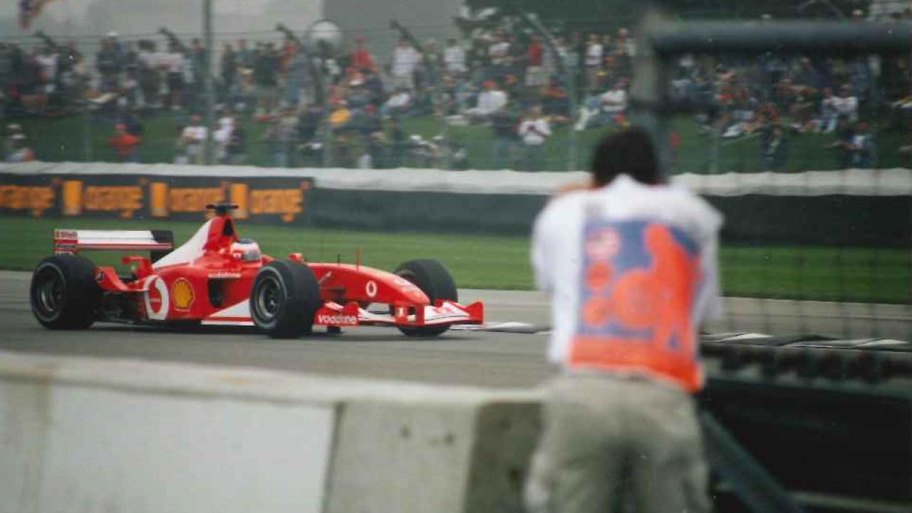 rubens barrichello in his formula 1 ferrari at the u.s. grand prix in indianapolis