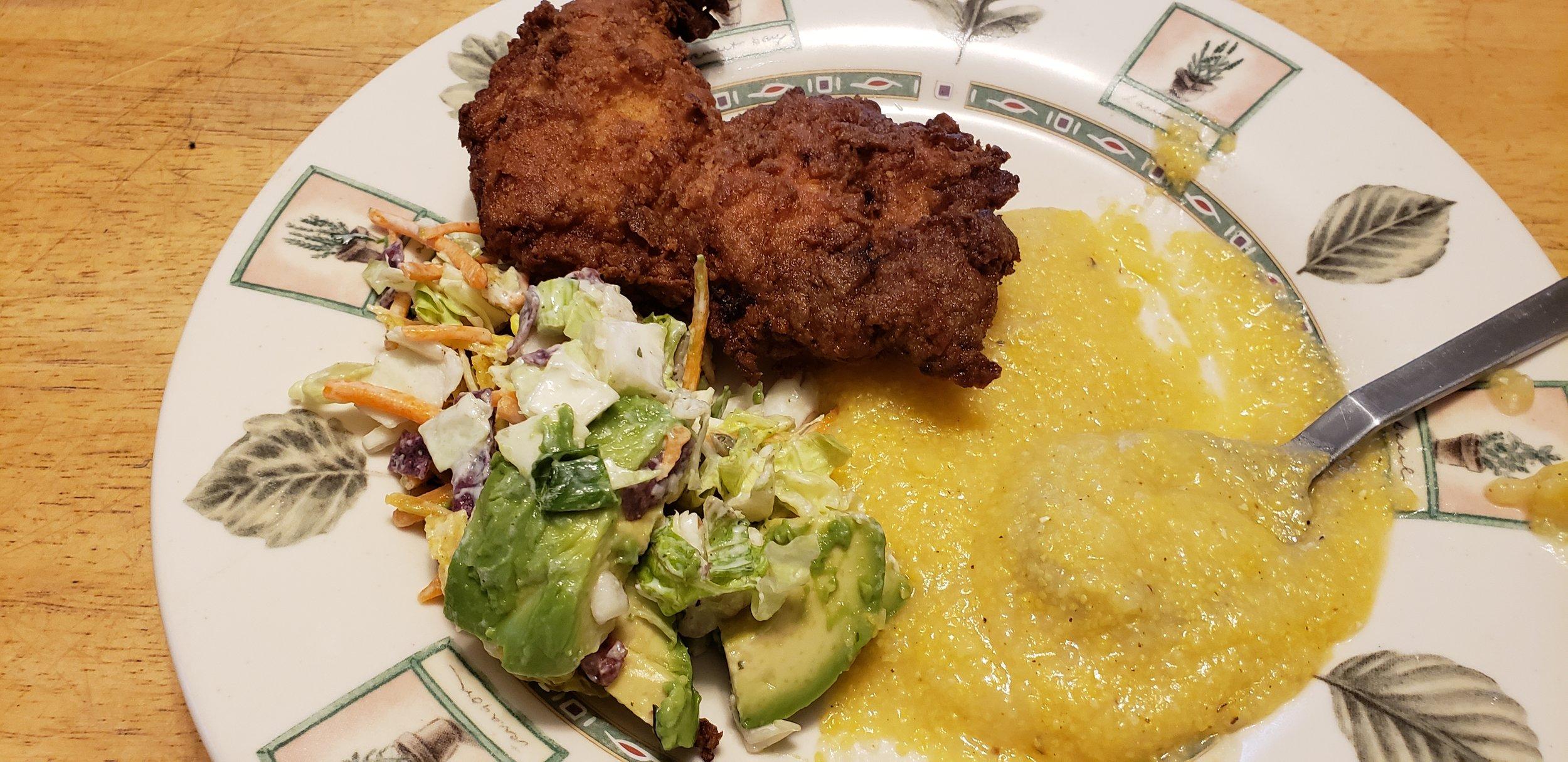 I served mine with an avacado/cilantro salad and buttery, creamy polenta.