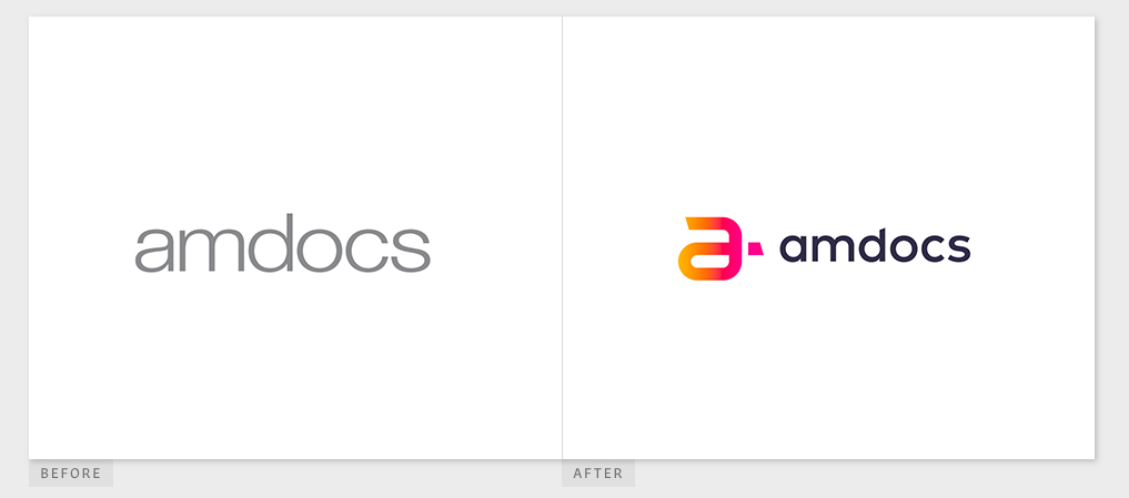 Amdocs logo has been designed to tell the story of the company's journey of continued innovation. The design is cleaner, sharper with a modern twist. The colours are a nod to Amdocs' previous brand and company's history stretching over three decades (orange) with the gradient transition to magenta symbolizing progress and evolution.