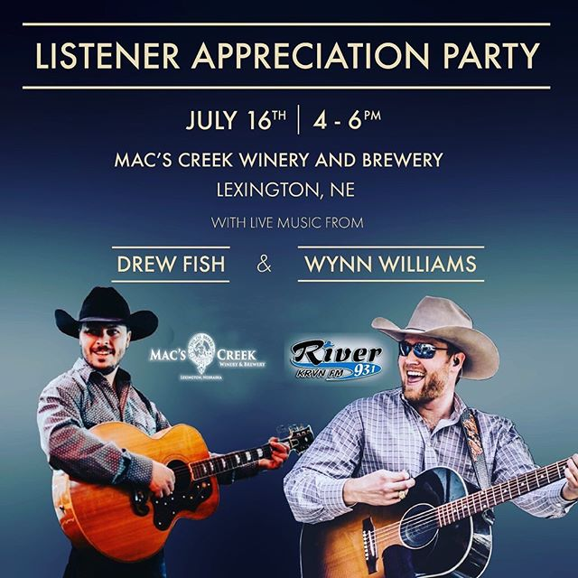 Lexington, NE! @drewfishband and I are swinging through today for some fun at @macscreekwinebeer from 4-6p!! Hope to meet some new folks! #yeahbuddy