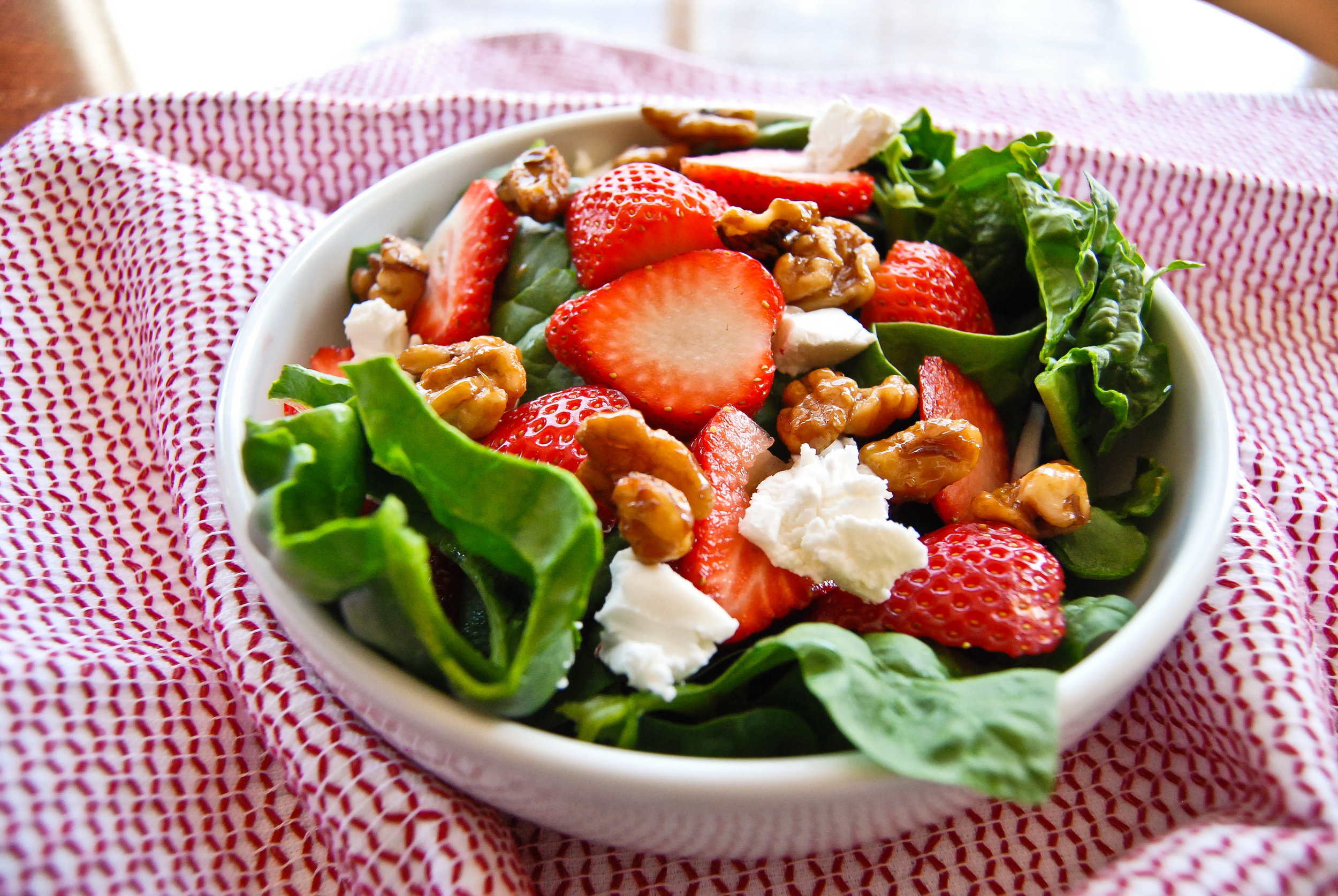 Strawberry Goat Cheese And Walnut Spinach Salad | Front Range Fed