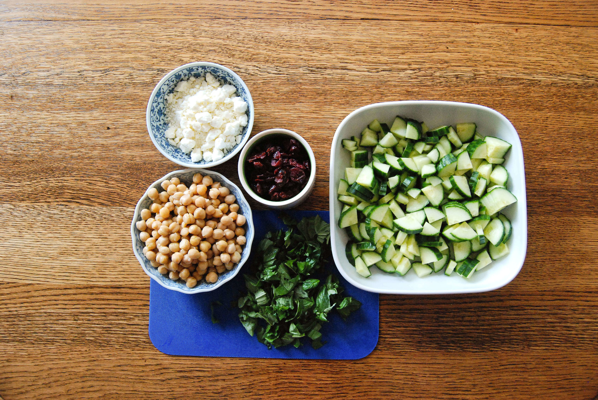 Cucumber, basil, feta and chickpea salad with cranberries