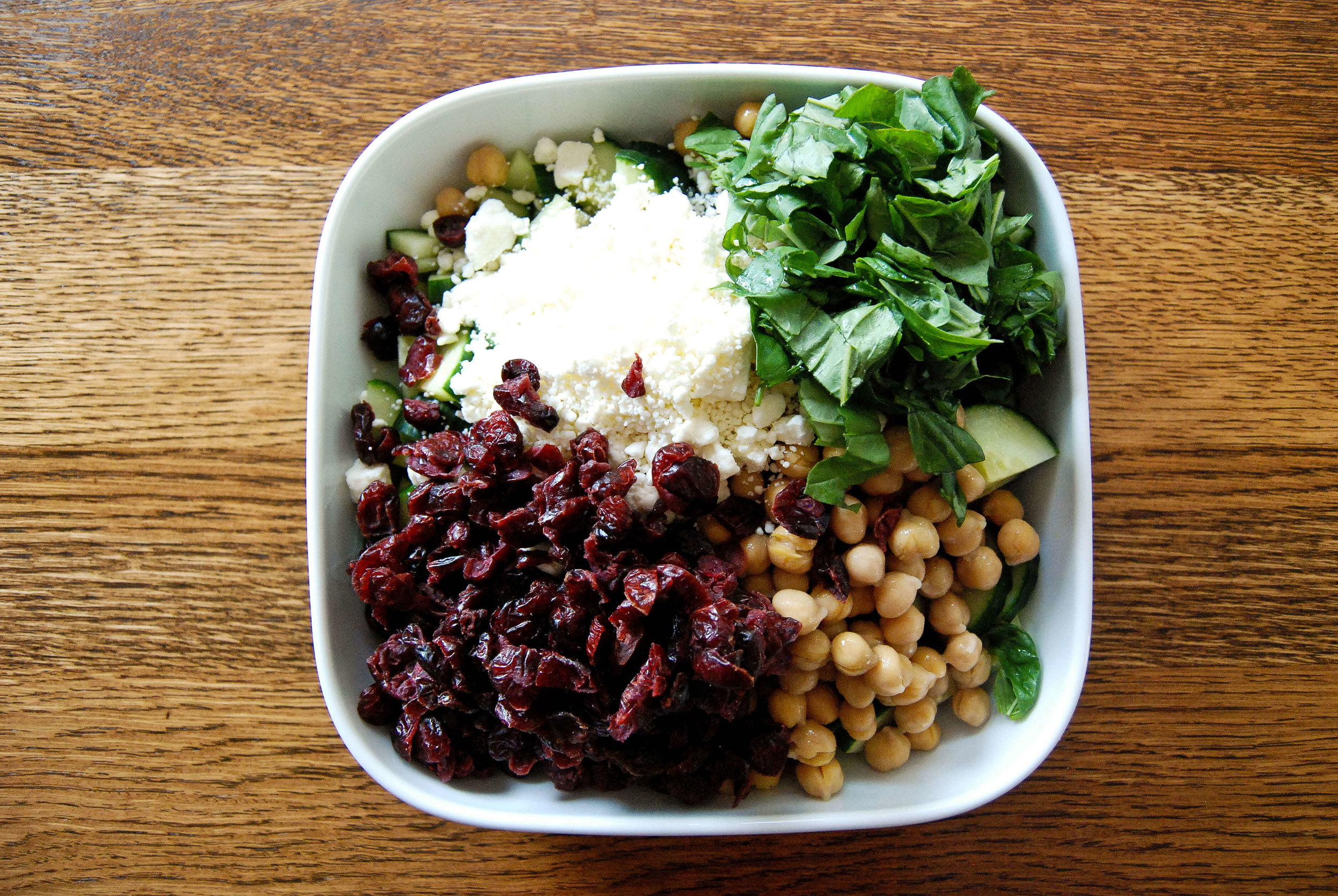 Cucumber Basil Feta Chickpea Salad With Cranberries