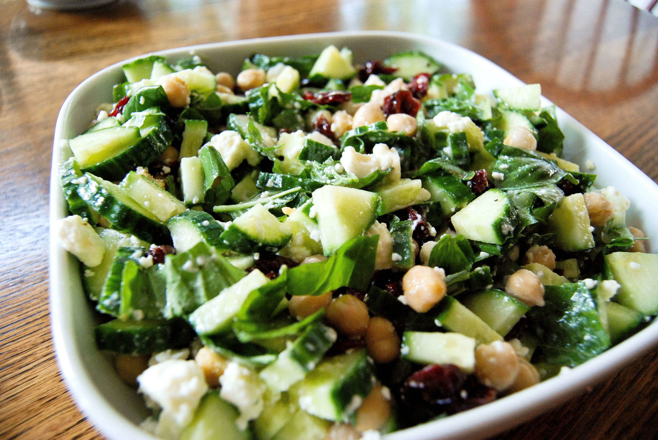 Cucumber, Basil, Feta, And Chickpea Salad With Cranberries