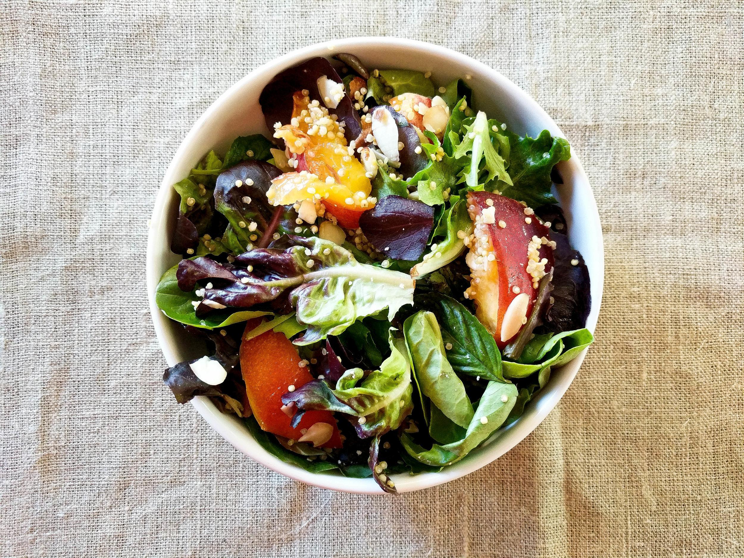 Quinoa And Nectarine Salad With Basil And Feta