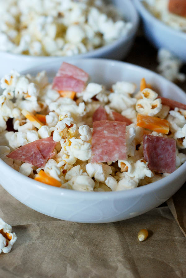 Salami And Colby Jack Popcorn