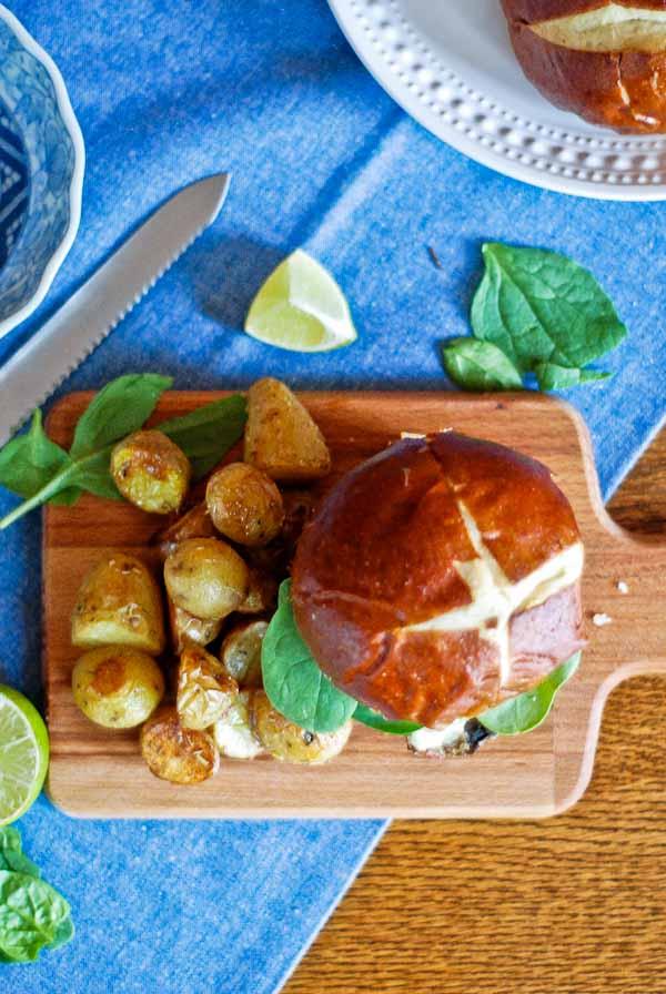 Veggie Mushroom Burger On Pretzel Bun & Roasted Potatoes