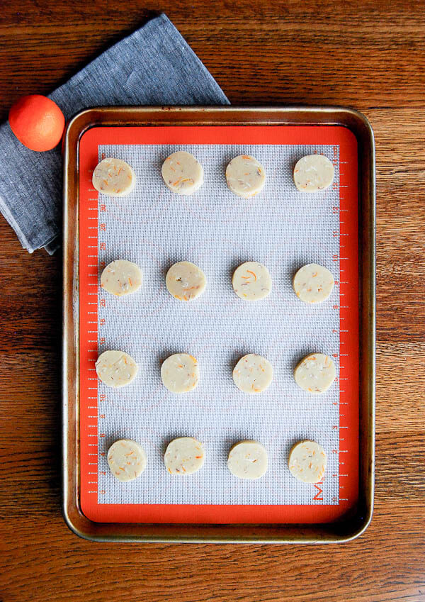 Slice And Bake Chocolate Dipped Orange And Almond Shortbread Cookies