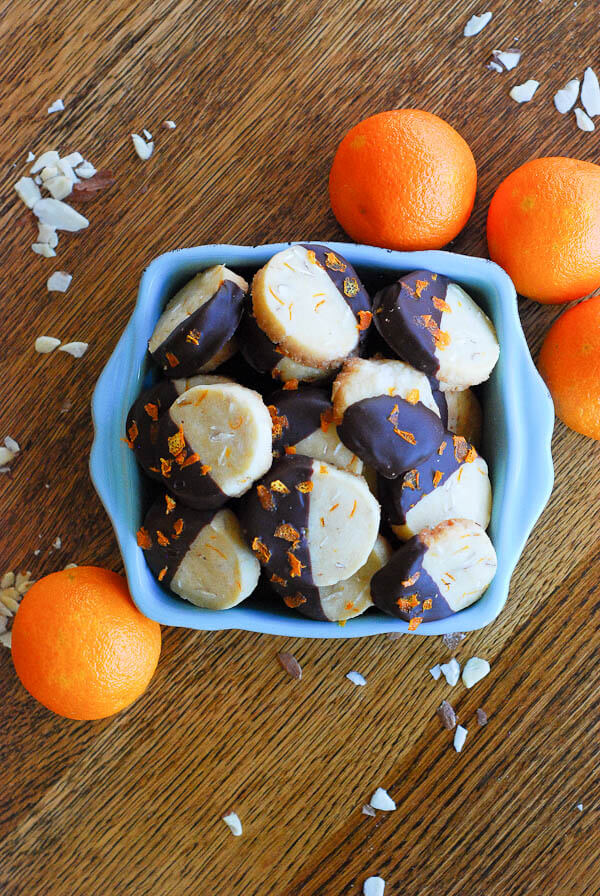 Chocolate Dipped Orange And Almond Shortbread Cookies
