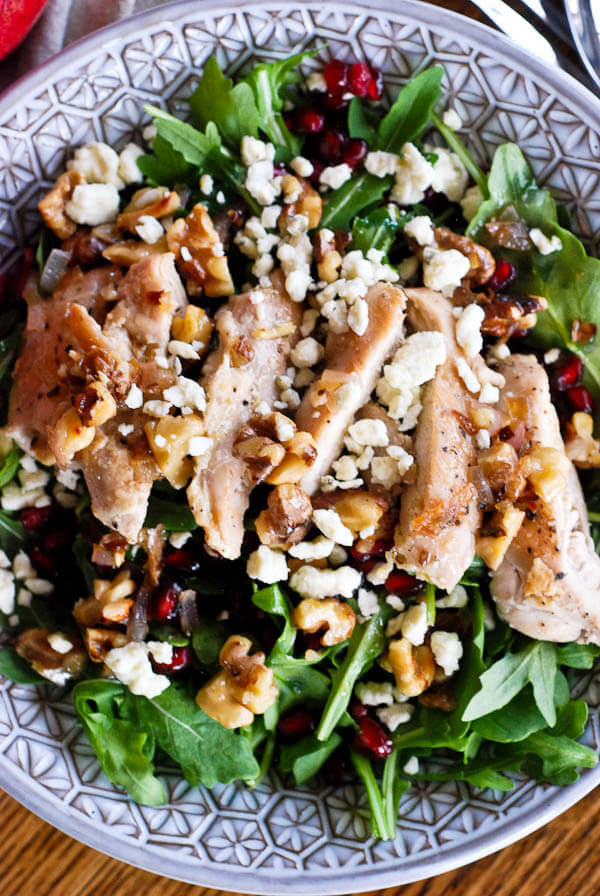 Healthy Chicken Pomegranate and Arugula Crunch Salad