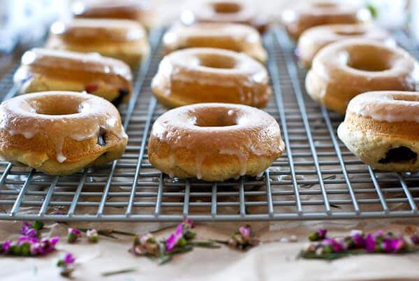 Blueberry and lemon baked cake donuts with lemon glaze