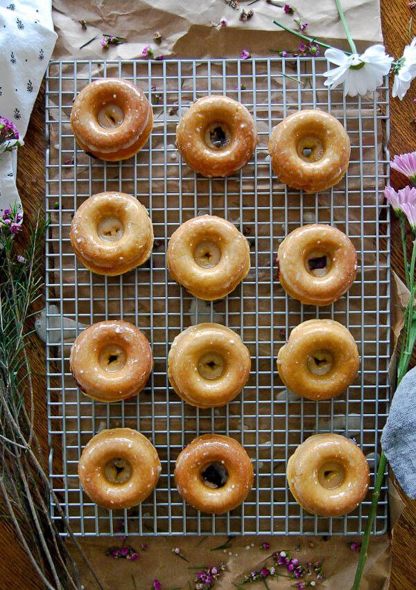 Blueberry and lemon baked cake donuts