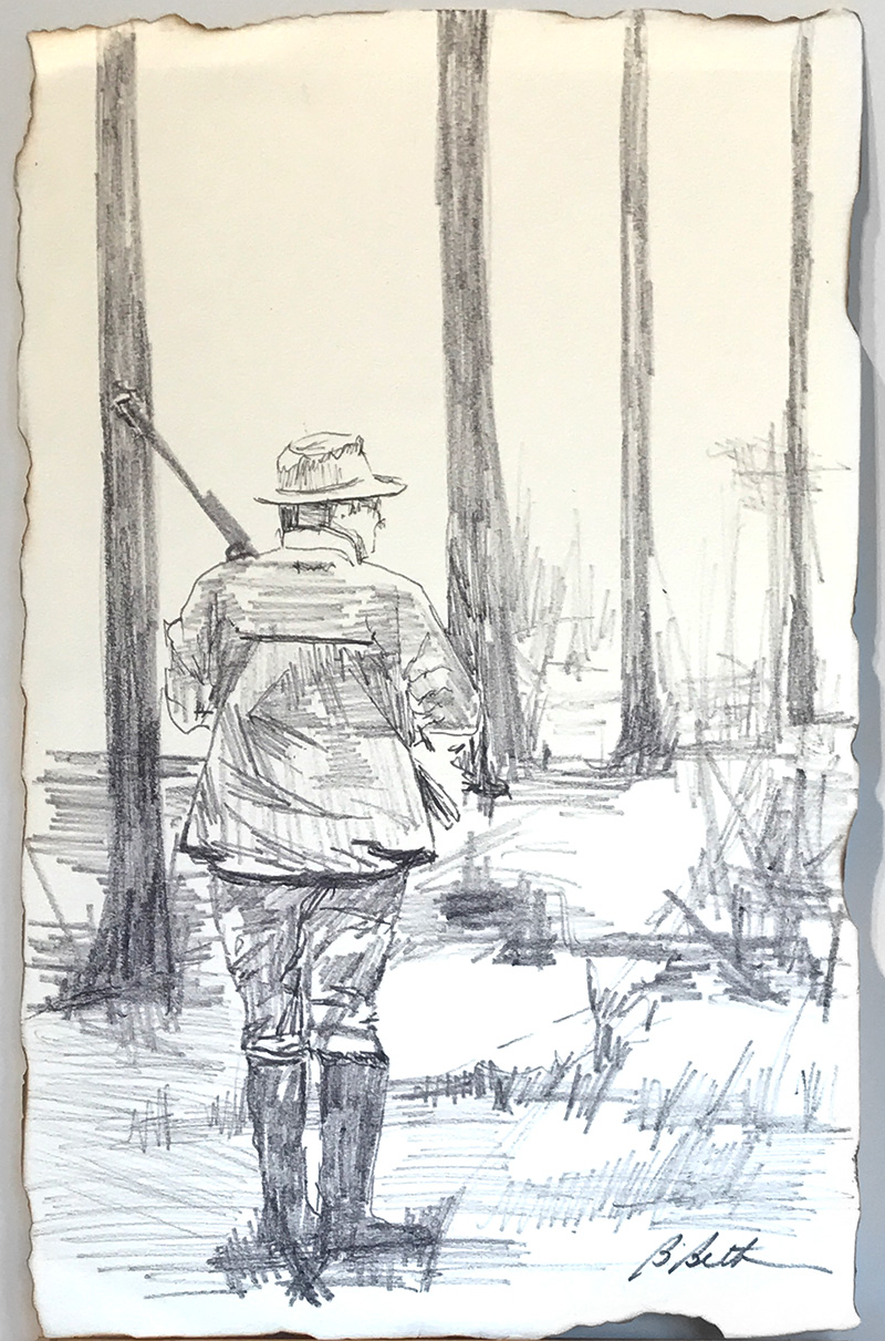 """HUNTING THE COVEY, 9"""" x 12"""", Pen & Ink,"""