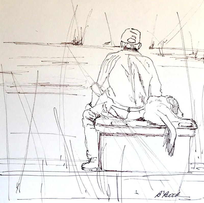 "FISHING BUDDIES, 12"" x 12"", Pen & Ink"