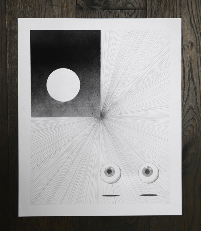 """He Looks Pass You and Into Infinity   Graphite and spray paint on paper   14"""" x 17"""""""