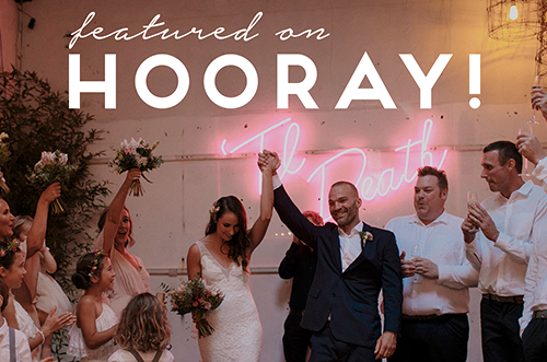 Featured on HOORAY! Alice and Andrew's cheeky DIY wedding