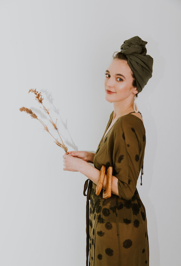 Full Linen Turban in Forrest Green + Isla Earrings