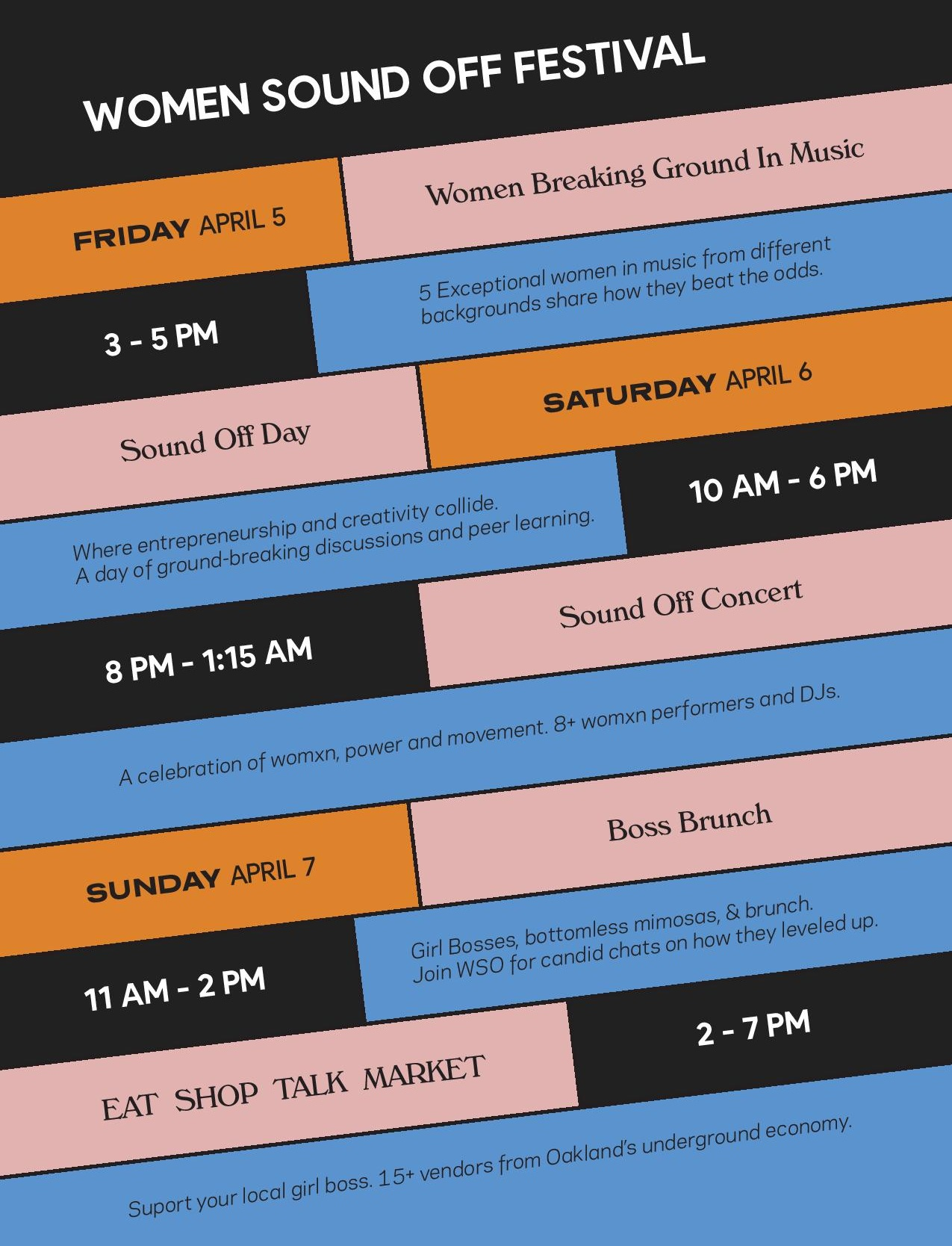 * Weekend Pass excludes 4/5 Women Breaking Ground in Music
