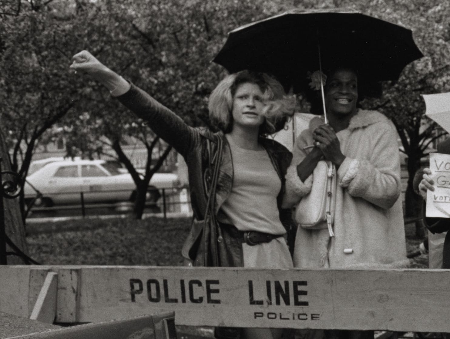 Sylvia Rivera, left, and Marsha P. Johnson protest at a rally for gay rights in New York in 1973. (Diana Davies/Manuscripts and Archives Division, The New York Public Library)