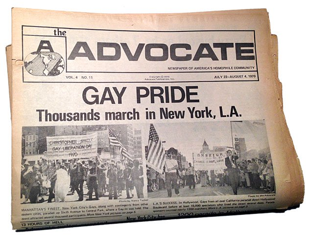 Front page of The Advocate covering Pride Marches, July 22, 1970