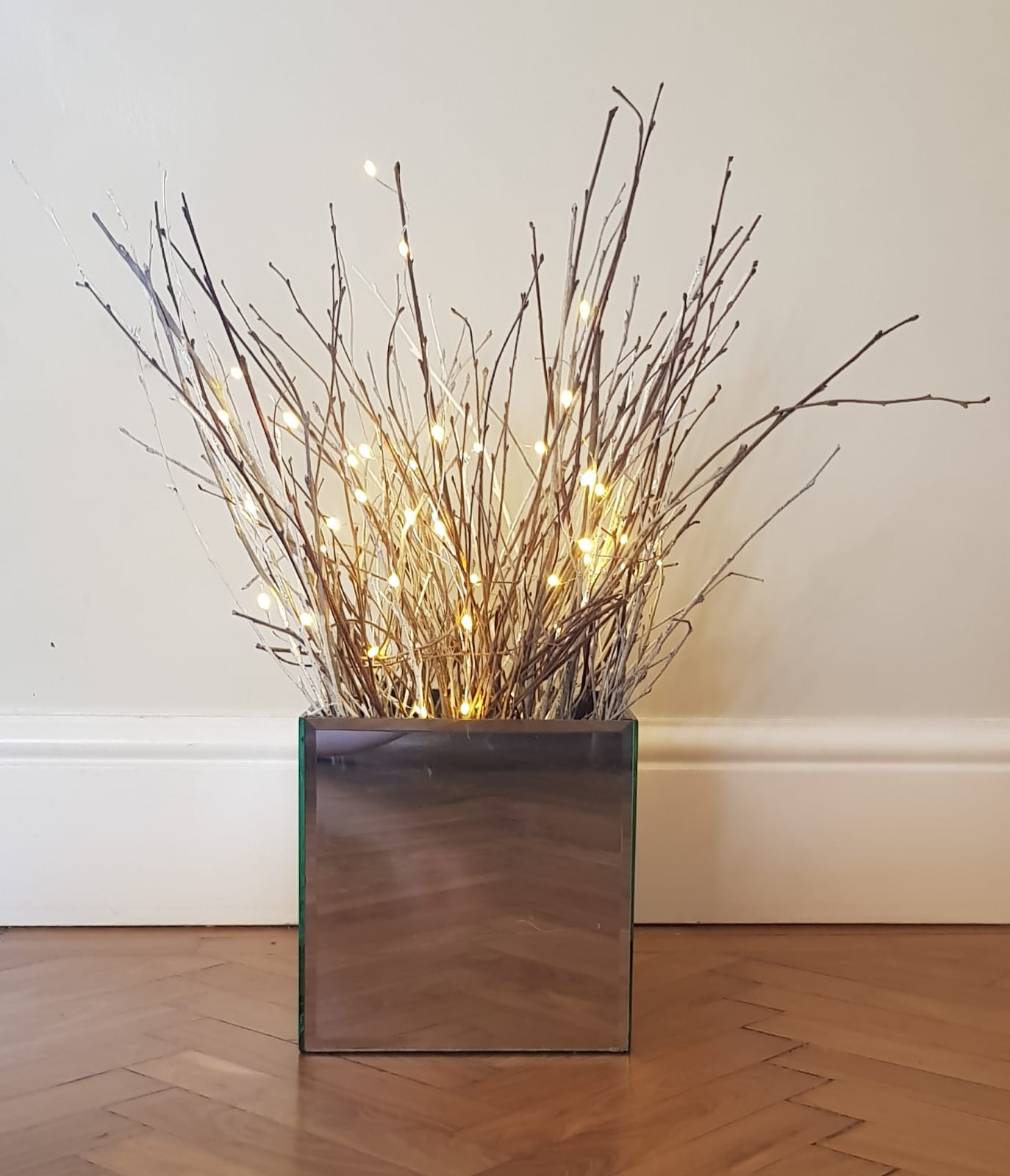 Large cube mirrored vases 18cm x 18cm. Seven available for hire. £15 each to hire