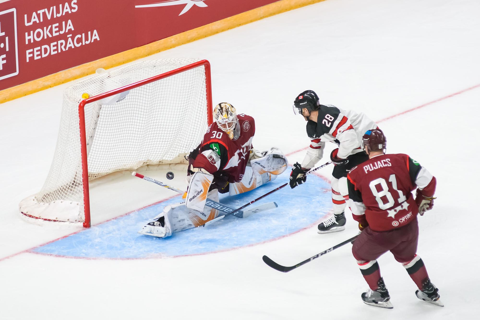 04.02.2018. RIGA, LATVIA. Pre-tournament game between Canada National ice hockey team and National ice hockey team of Latvia at Arena Riga.