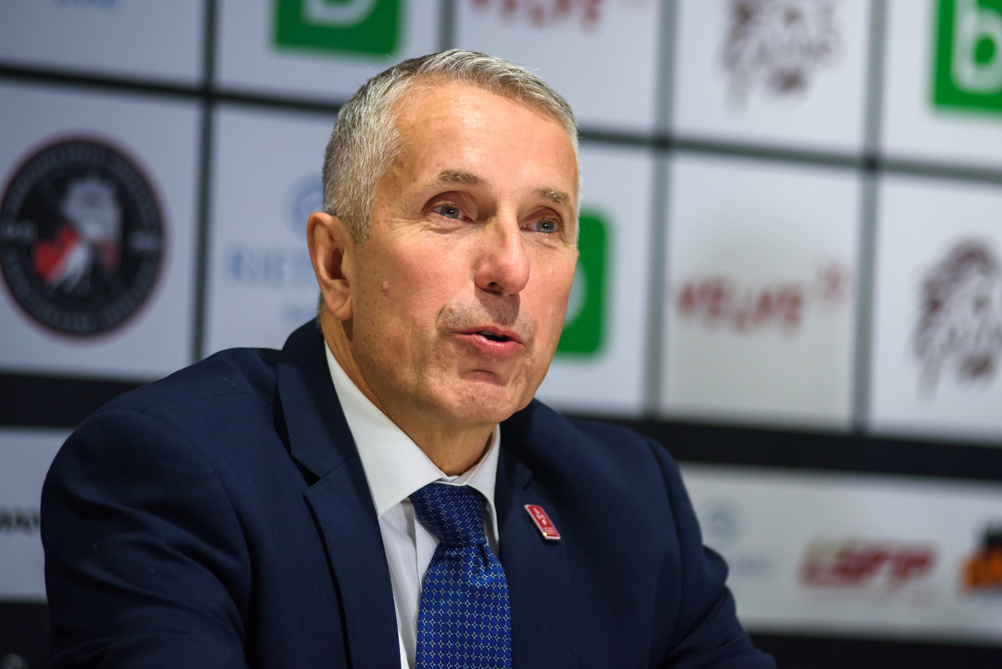 04.02.2018. RIGA, LATVIA. Bob Hartley head coach of team Latvia, at press conference Pre-tournament game between Canada National ice hockey team and National ice hockey team of Latvia at Arena Riga.