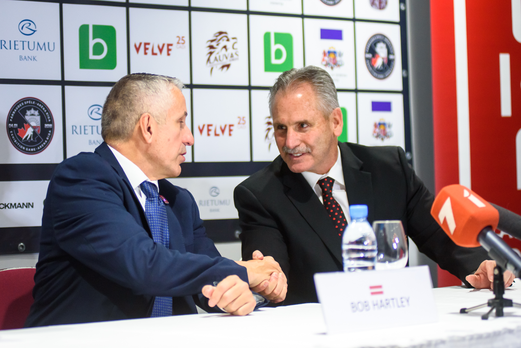 04.02.2018. RIGA, LATVIA. Bob Hartley  head coach of team Latvia and Willie Dedjardins, head coach of team Canada at press conference Pre-tournament game between Canada National ice hockey team and National ice hockey team of Latvia at Arena Riga.