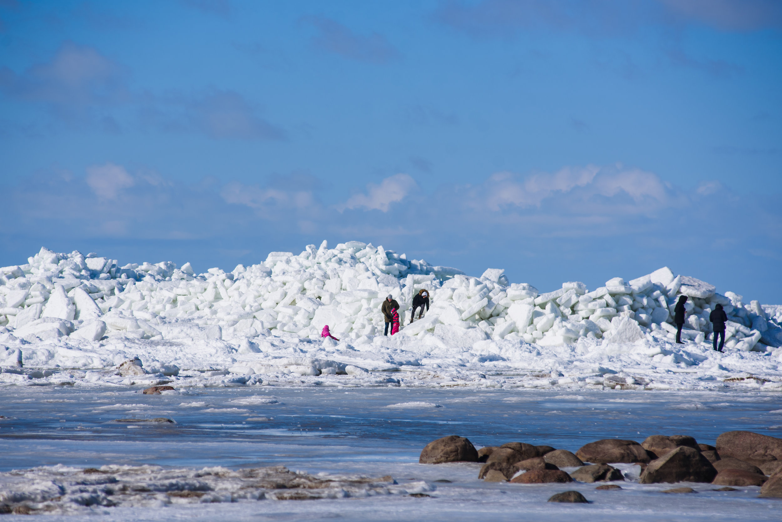 17.03.2018. MERSRAGS, LATVIA. Massive area with huge ice stack in sea.