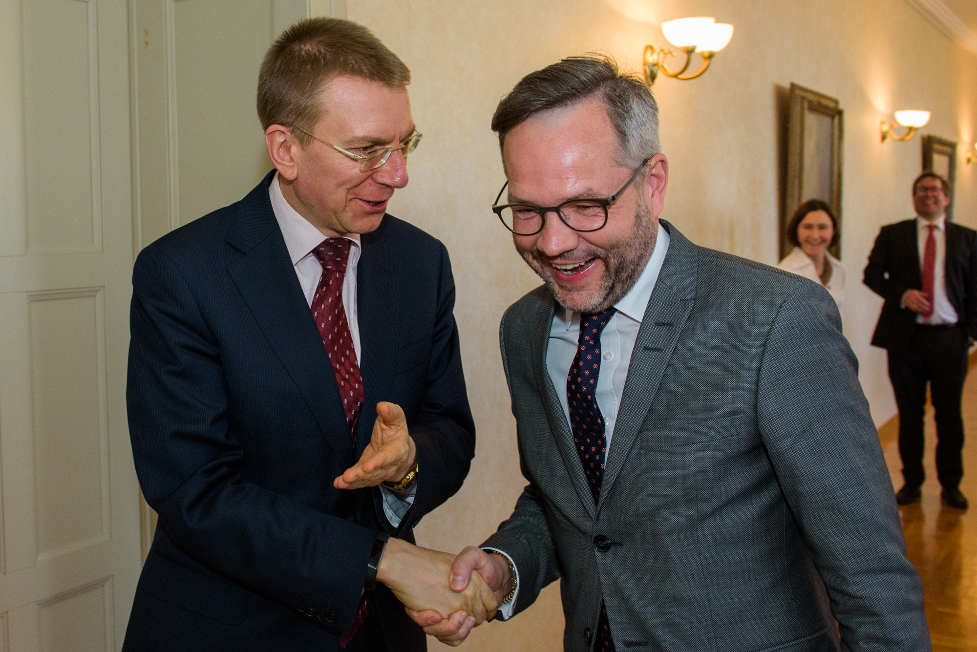 16.03.2017. Mr. Michael Roth meets with minister of Foreign Affairs of Latvia Edgars Rinkevics.