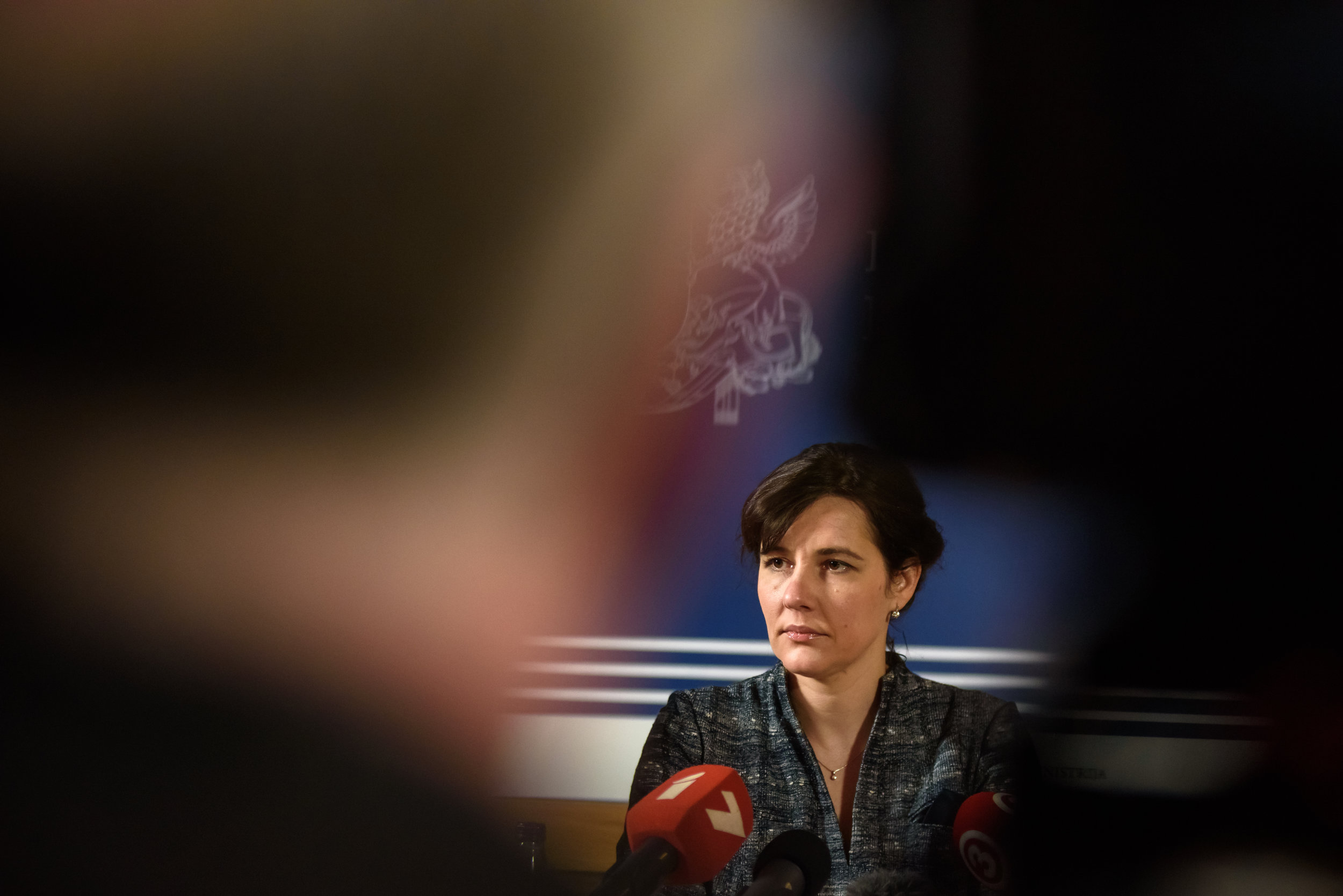 24.02.2018. RIGA, LATVIA.  Minister of finance of Latvia Dana Reizniece Ozola  at Press conference in Ministry of Finance of Latvia informs about current situation in the  Financial sector. Riga, Latvia
