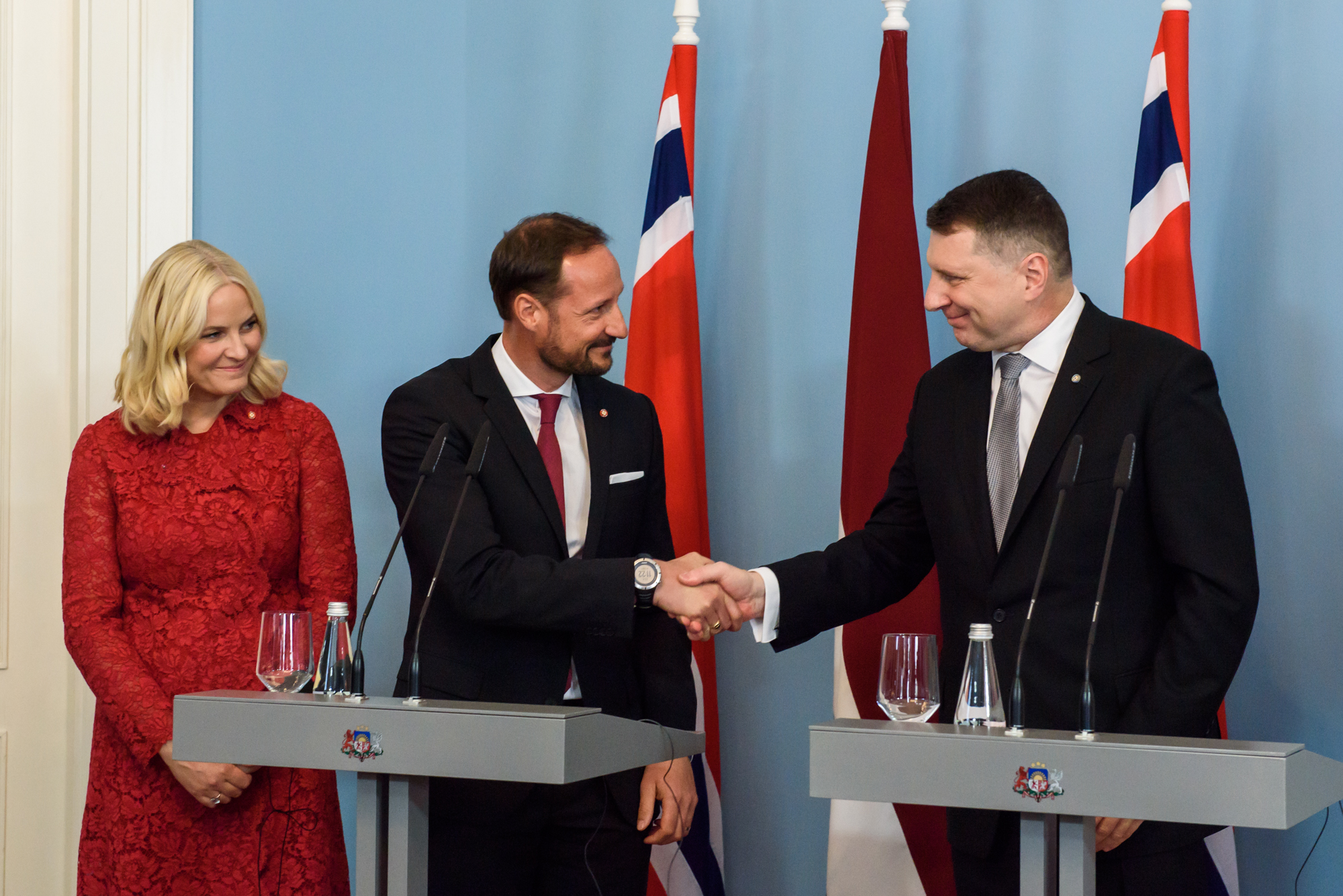 23.04.2018. RIGA, LATVIA. Crown Prince Haakon , Crown Princess Mette-Marit of the Kingdom of Norway and president of Latvia Raimonds Vejonis with his wife Iveta Vejone at press conference in Riga Castle, Latvia.