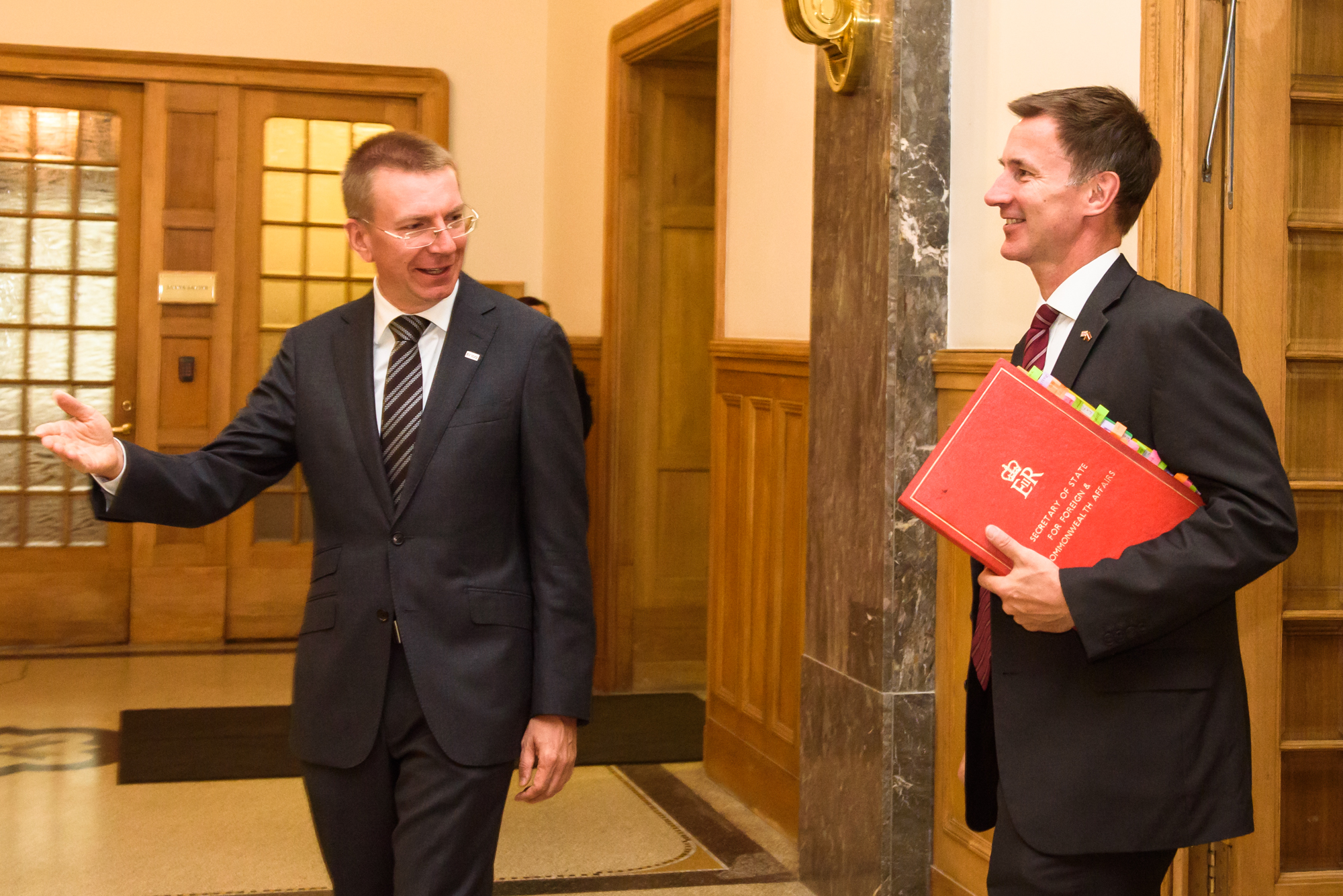 15.08.2018. RIGA, LATVIA. Jeremy Hunt, Minister of Foreign Affairs of United Kingdom arrives to Official State Visit  with Edgars Rinkevics, Minister of Foreign Affairs of Latvia. Ministry of Foreign Affairs of Republic of Latvia.