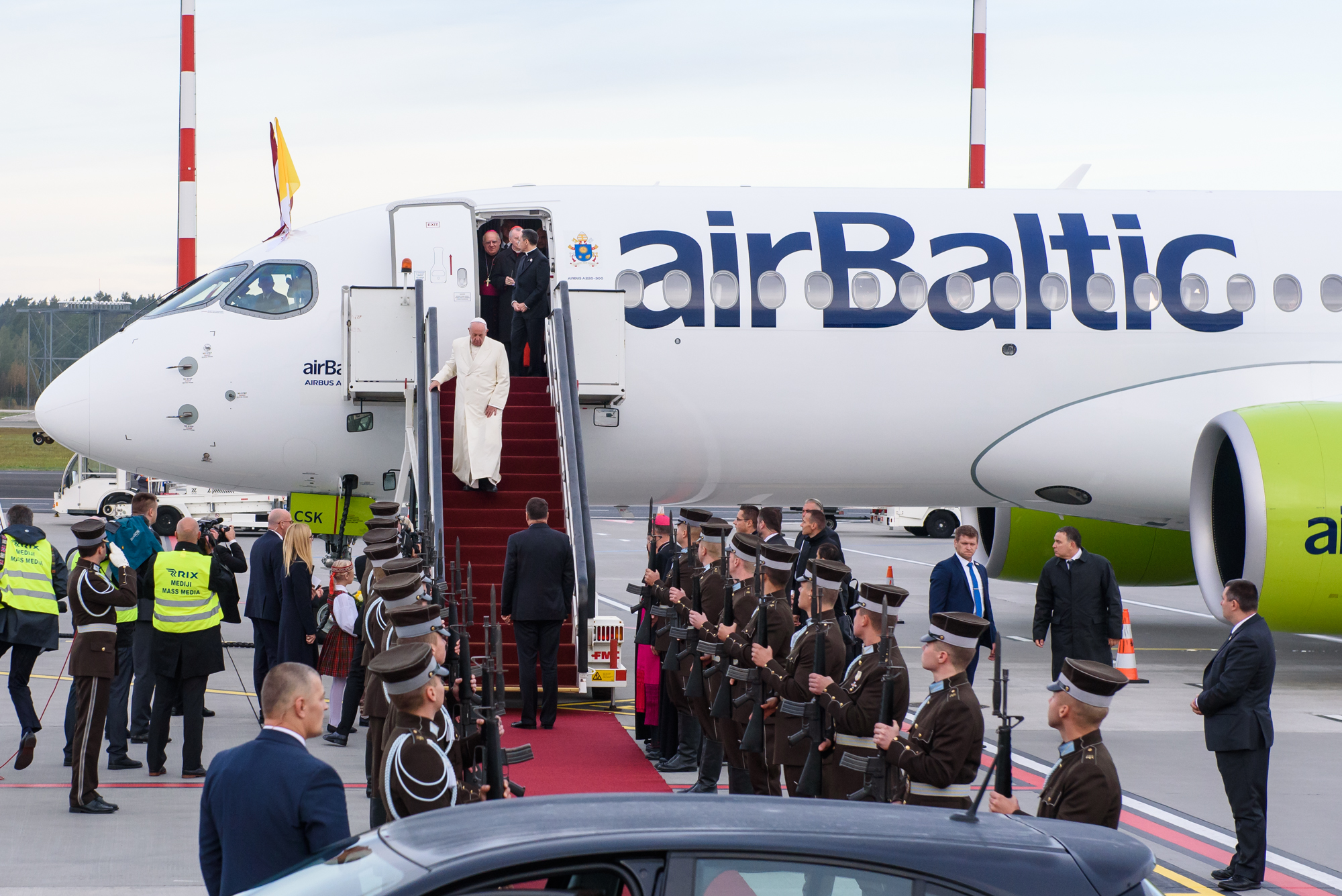 "24.09.2018. RIGA, LATVIA. His Holiness Pope Francis arriving at Riga International Airport""."