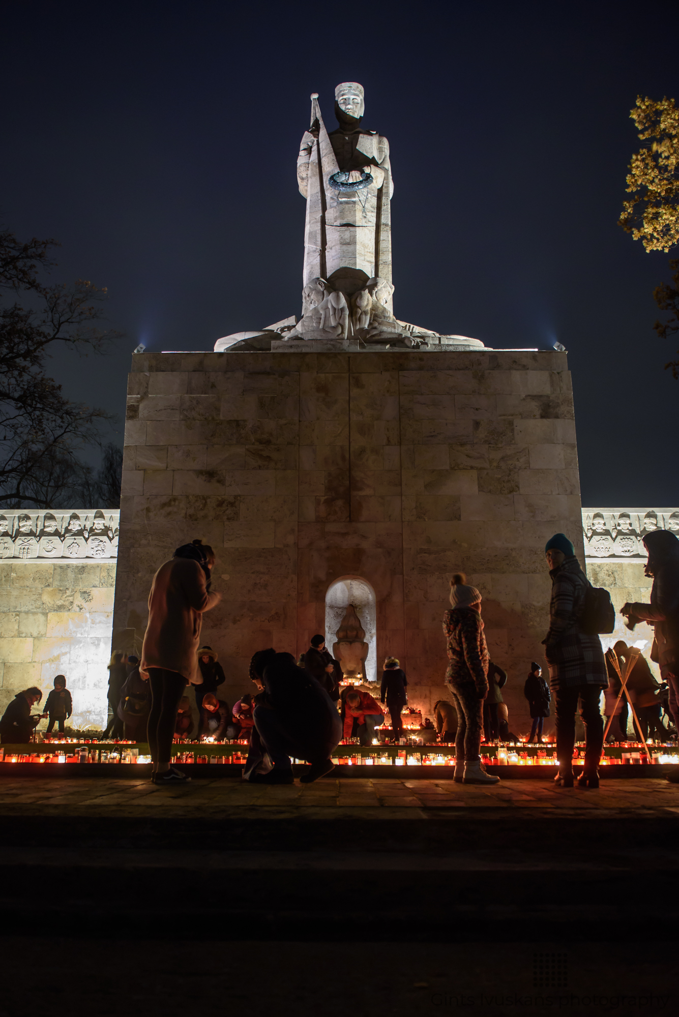 11.11.2018. RIGA, LATVIA. People light candles, in Riga , during Lāčplēsis Day - memorial day for soldiers who fought for the independence of Latvia.